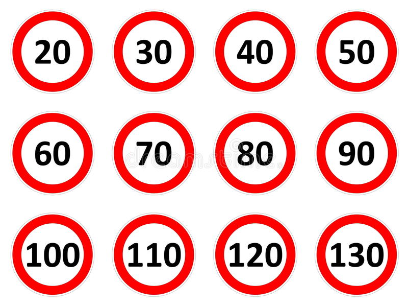 Знаки ограничения в скорости иллюстрация штока