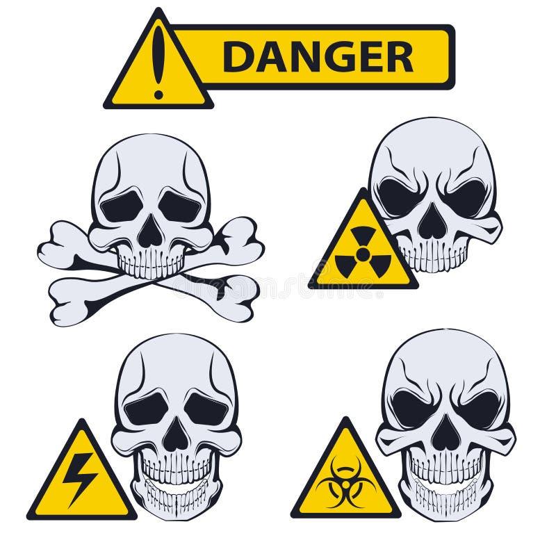 Знаки опасности белизна иллюстрации фингерпринта предпосылки бесплатная иллюстрация