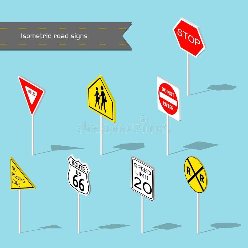 знаки дороги установленные Стиль иллюстрации вектора равновеликий иллюстрация штока