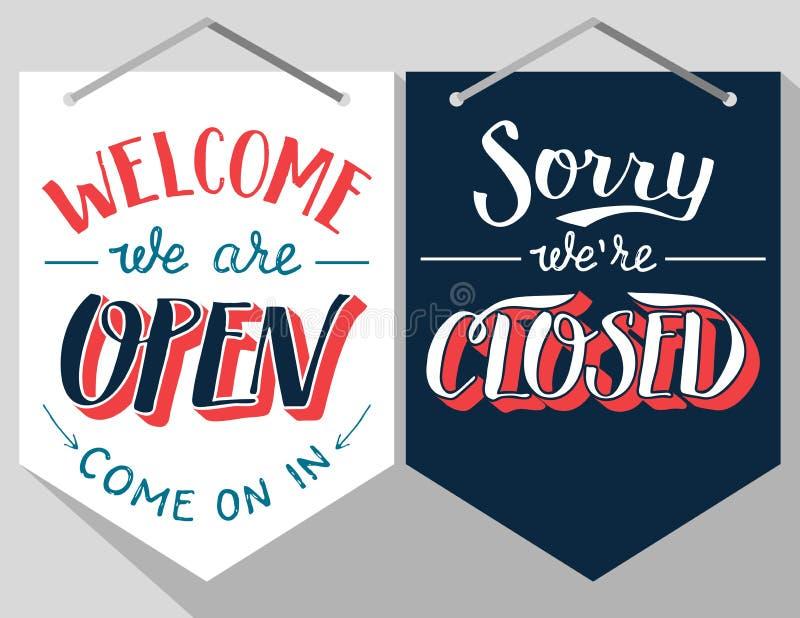 Знаки открытой и закрытой руки lettered иллюстрация вектора