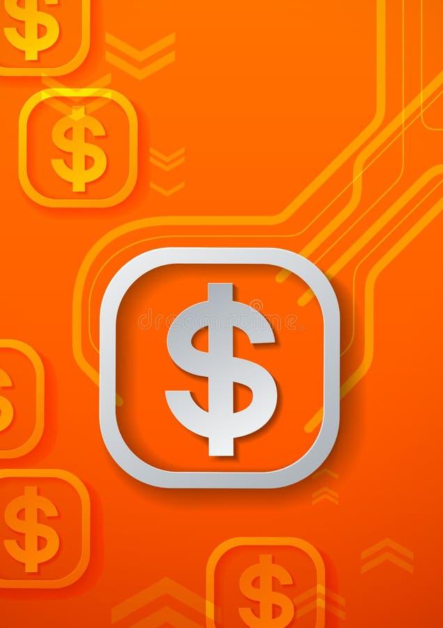 Знаки доллара на оранжевой предпосылке технологии иллюстрация вектора