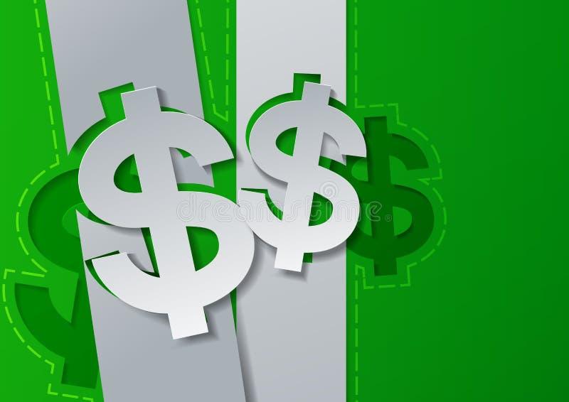 Знаки доллара отрезанные от белой бумаги на зеленой предпосылке бесплатная иллюстрация