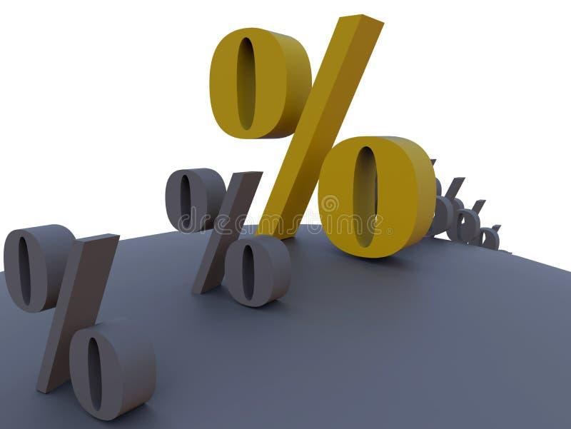 Знаки процентов вокруг сферы иллюстрация вектора