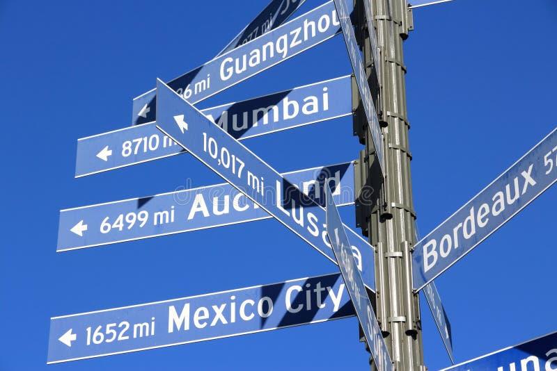 Знаки расстояния перемещения стоковое изображение