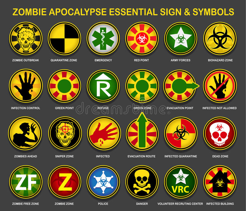 Знаки & символы апокалипсиса зомби необходимые иллюстрация вектора