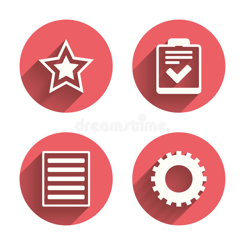 Знаки списка звезды и меню Контрольный списоок, шестерня бесплатная иллюстрация