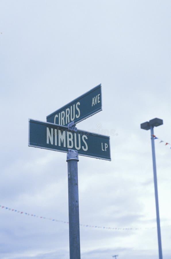 Знаки улицы для Nimbus и цирруса стоковые изображения rf