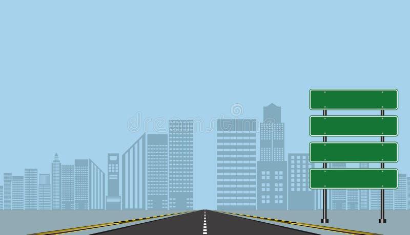 Знаки шоссе дороги, зеленая доска на дороге, иллюстрации вектора бесплатная иллюстрация