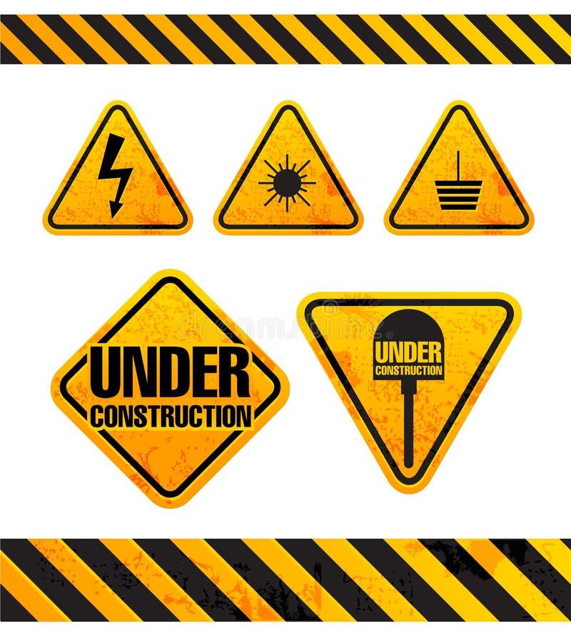 знаки grunge опасности собрания иллюстрация вектора