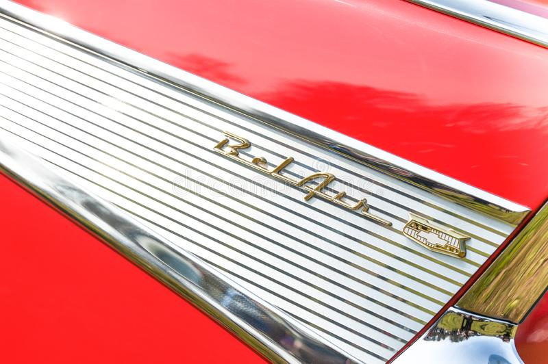 Знак автомобиля 'Шевроле Бел Эйр' стоковое фото rf