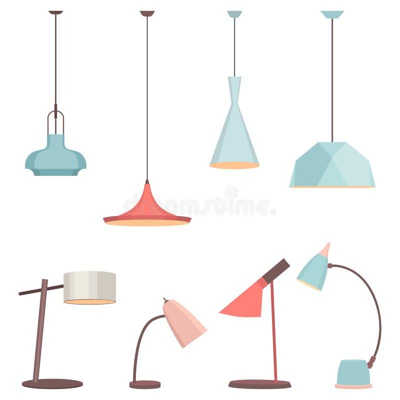 Знак ламп установленный для интерьера Лампа пола электричества и концепция настольных ламп Домашний объект украшения в плоском ст иллюстрация штока
