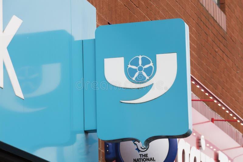 Знак банка Йоркшира - Scunthorpe, Линкольншир, Великобритания - стоковая фотография rf