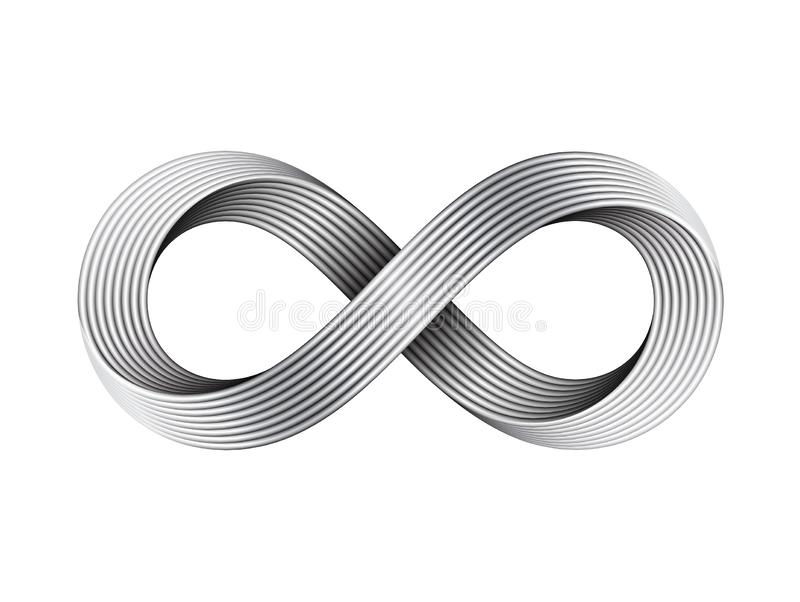 Знак безграничности вектора сделанный из кабелей металла Символ прокладки Mobius иллюстрация вектора