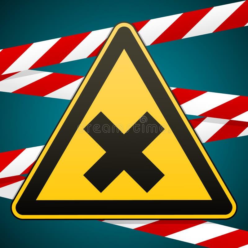 Знак безопасности Предосторежение - опасность вредная к веществам здоровья аллергическим ирритантным иллюстрация штока