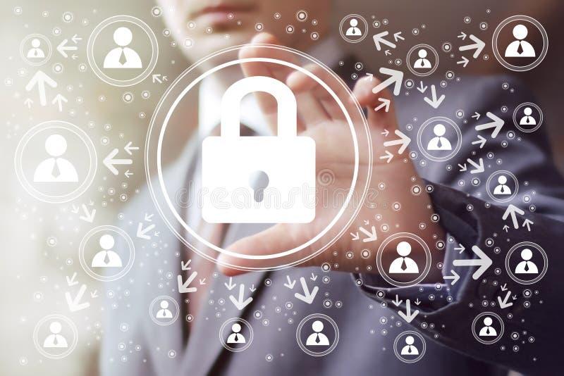 Знак безопасностью замка сети кнопки дела онлайн бесплатная иллюстрация