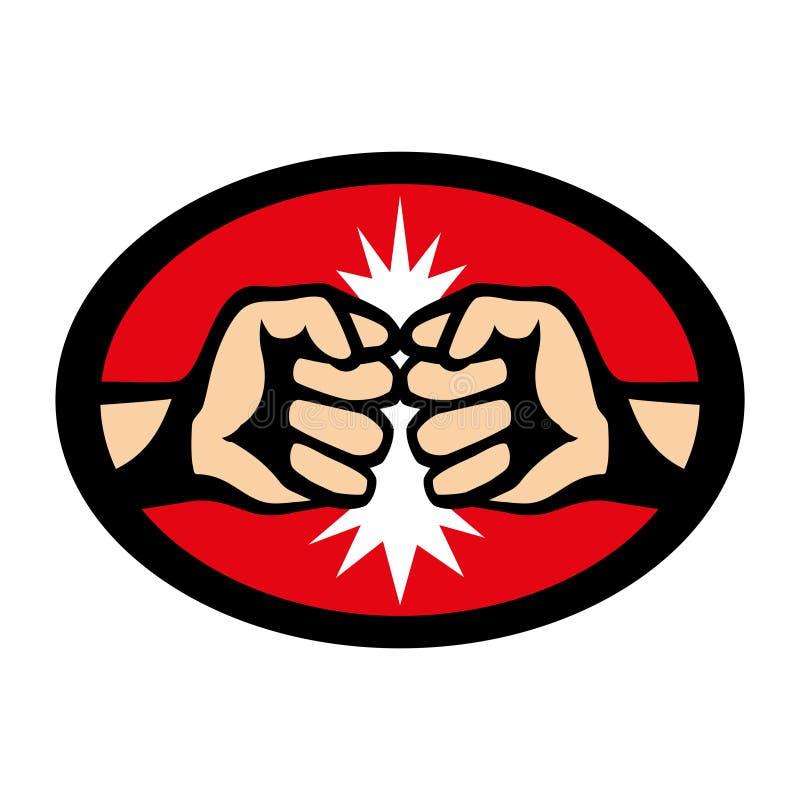 Знак боя с 2 кулаками иллюстрация вектора