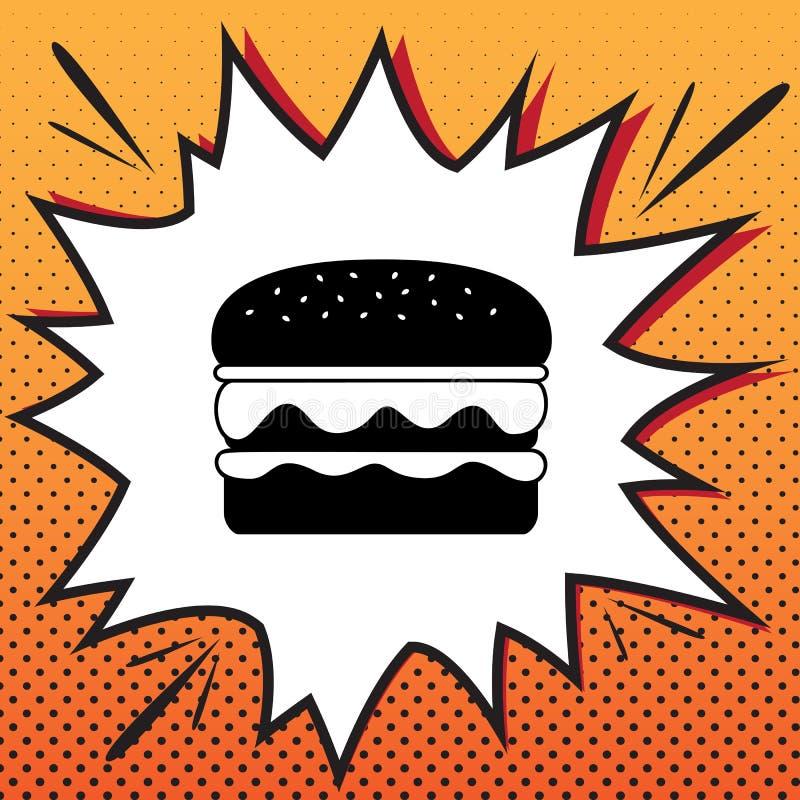 Знак бургера простой вектор Значок стиля комиксов на backgro шипучк-искусства иллюстрация вектора