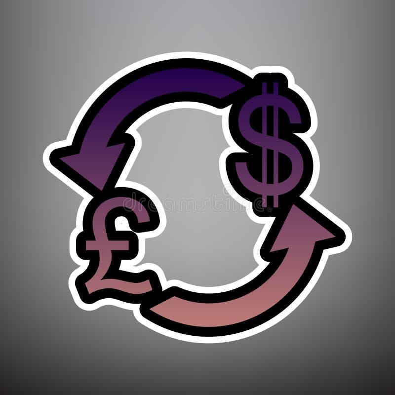 Знак валютной биржи Великобритания: Фунт и доллар США вектор лилово бесплатная иллюстрация