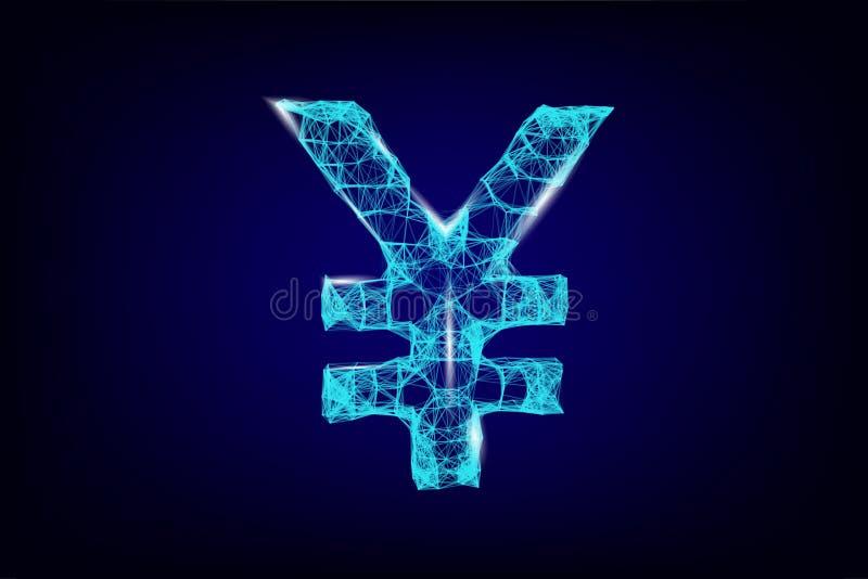 Знак валюты иен, цифровая неоновая иллюстрация 3d Символ денег полигонального вектора японский Дело, наличные деньги данных, фина стоковые изображения rf