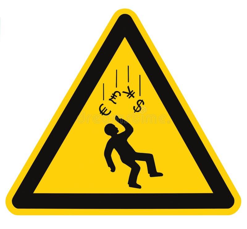 Знак валюты предупреждающей опасности рецессии падая стоковое изображение