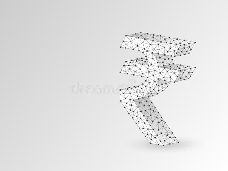 Знак валюты рупии, цифровое origami 3d Полигональный символ денег вектора Низкое поли дело, наличные деньги данных, концепция фин иллюстрация штока