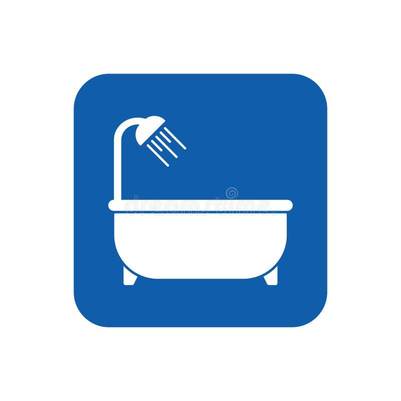 Знак ванной комнаты; графический плоский значок ванны вектора изолированный на rect иллюстрация вектора