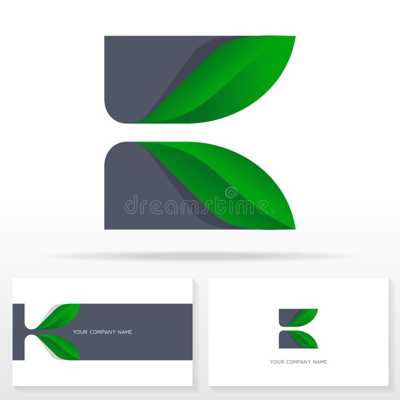 Знак вектора дизайна логотипа письма k Эмблема вектора запаса с зелеными листьями бесплатная иллюстрация