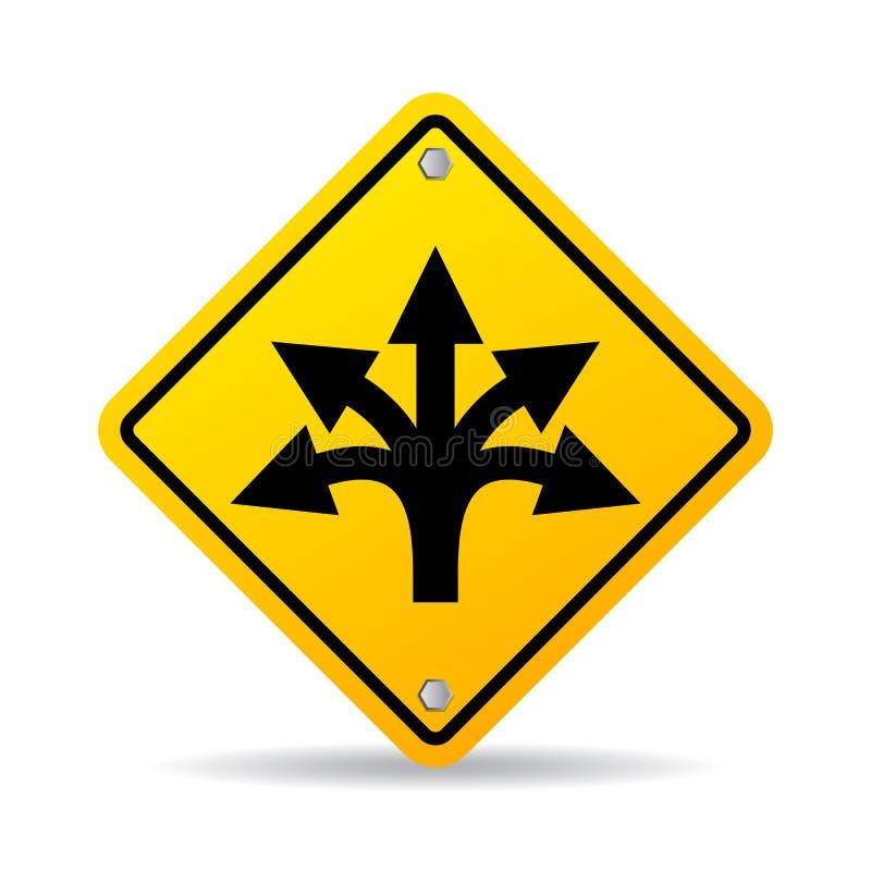 Знак вектора дороги много путей иллюстрация вектора