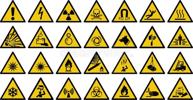 Знак вектора предупредительного знака - комплект предупредительного знака желтого цвета треугольника иллюстрация штока
