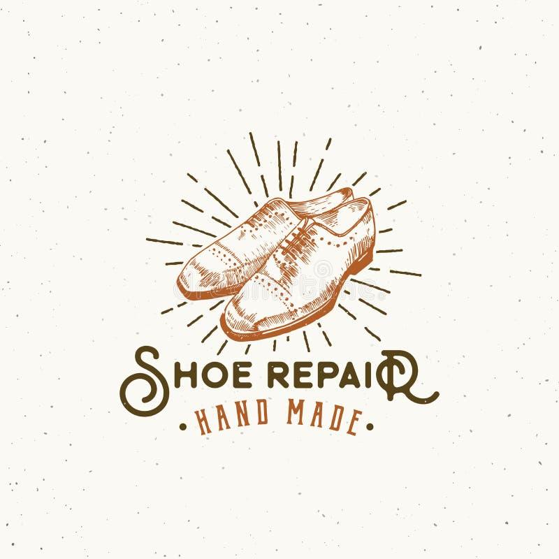 Знак вектора ремонта ботинка ретро, символ или шаблон логотипа Классика обувает эмблему оформления иллюстрации и года сбора виног иллюстрация вектора