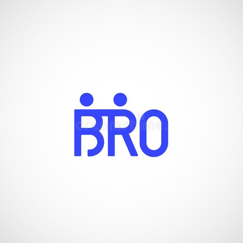 Знак вектора Bro или Borther абстрактные, эмблема или шаблон логотипа Значок литерности братства или команды Дружелюбные люди иллюстрация вектора