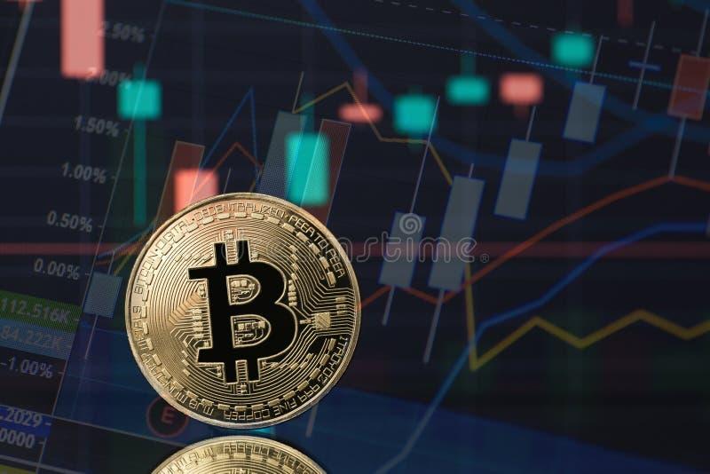 Знак внимания монетки cryptocurrency Bitcoin в золоте с финансовыми диаграммами фондовой биржи на заднем плане Концепция для цифр стоковые изображения
