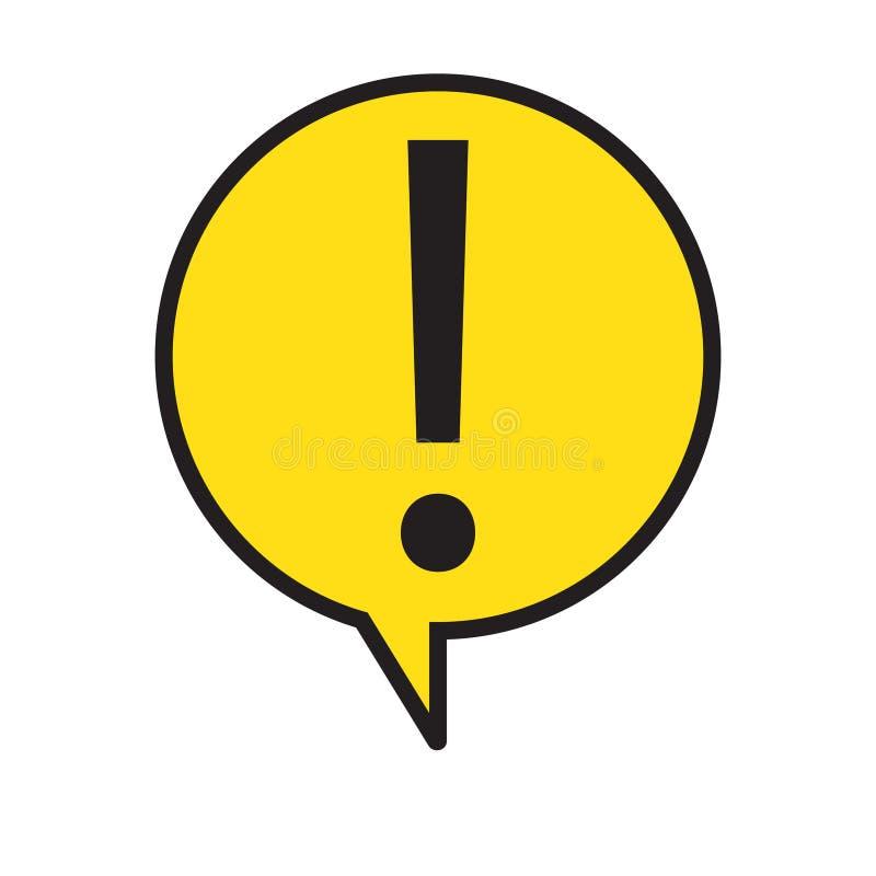 Знак внимания опасности предупреждая с символом в пузыре речи, иллюстрацией восклицательного знака вектора бесплатная иллюстрация