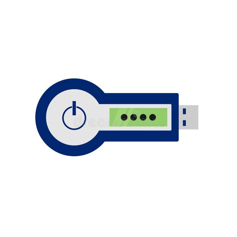 Знак внимания RSA прибор удостоверения подлинности 2-фактора, оборудование Cryptosystem для безопасности Значок вектора иллюстрация штока