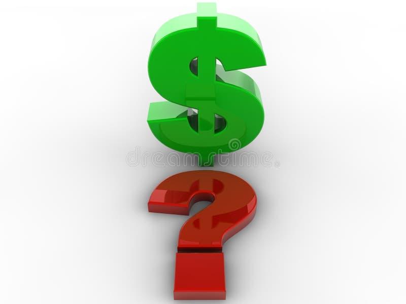 знак вопросе о метки доллара 3d иллюстрация вектора