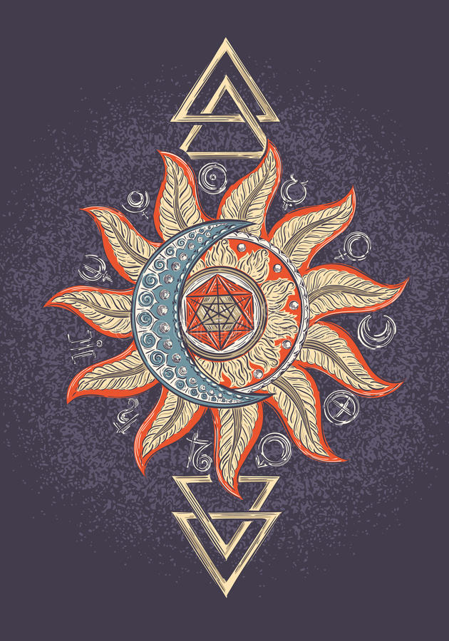 Знак волшебства алхимии иллюстрация штока