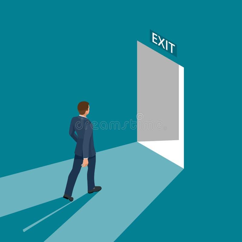 Знак входной двери бизнесмена идя, аварийная ситуация Решение дела или концепция стратегии выхода Покидать офисное здание бесплатная иллюстрация
