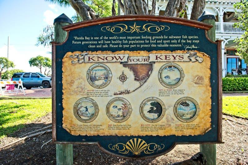 Знак вывешенный в ключи Флориды для того чтобы дать извещение к рыболовам защитить воду для будущего вида рыб стоковое изображение