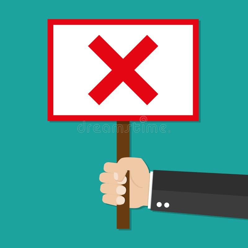 Знак владением руки бизнесмена шаржа с Красным Крестом бесплатная иллюстрация