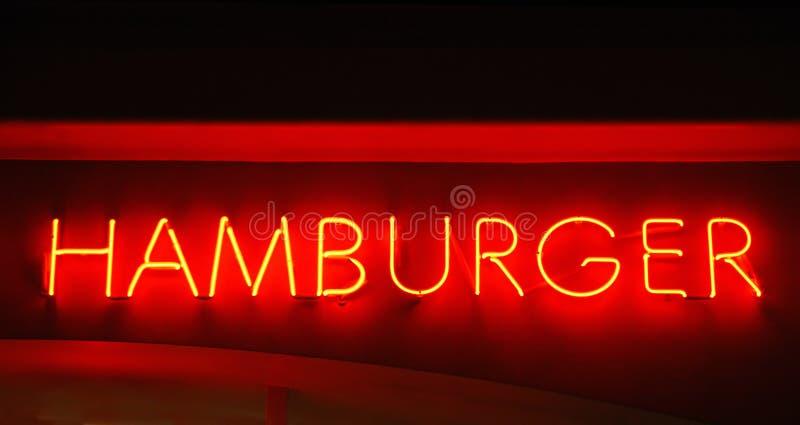 знак гамбургера неоновый стоковая фотография rf