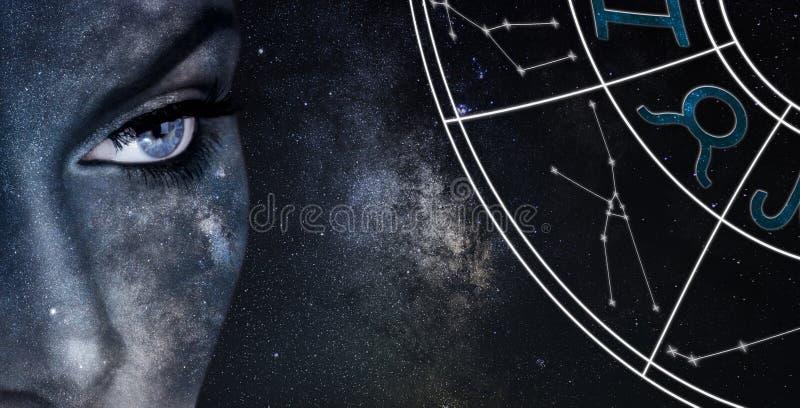 Знак гороскопа Тавра Предпосылка ночного неба женщин астрологии стоковое изображение rf
