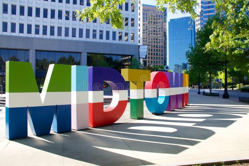 Знак городка Атланты средний стоковая фотография rf