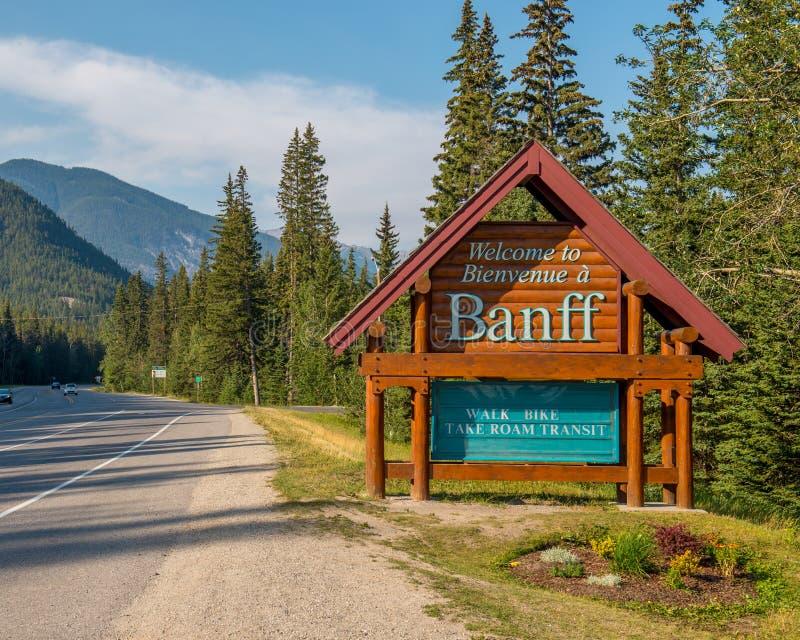 Знак городка Banff стоковое фото rf
