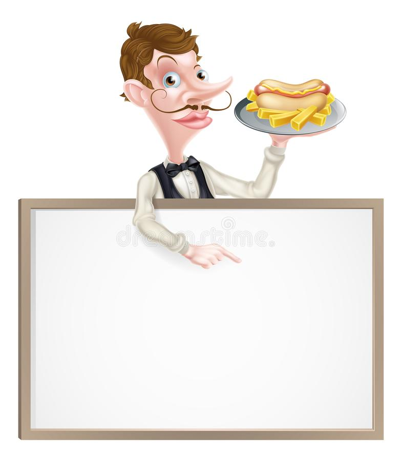 Знак горячей сосиски мультфильма и официанта картофеля фри иллюстрация вектора