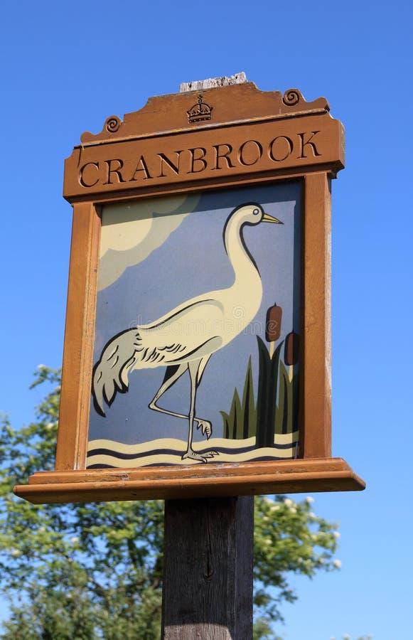 Знак деревни Cranbrook, Кент, Англия стоковые фотографии rf