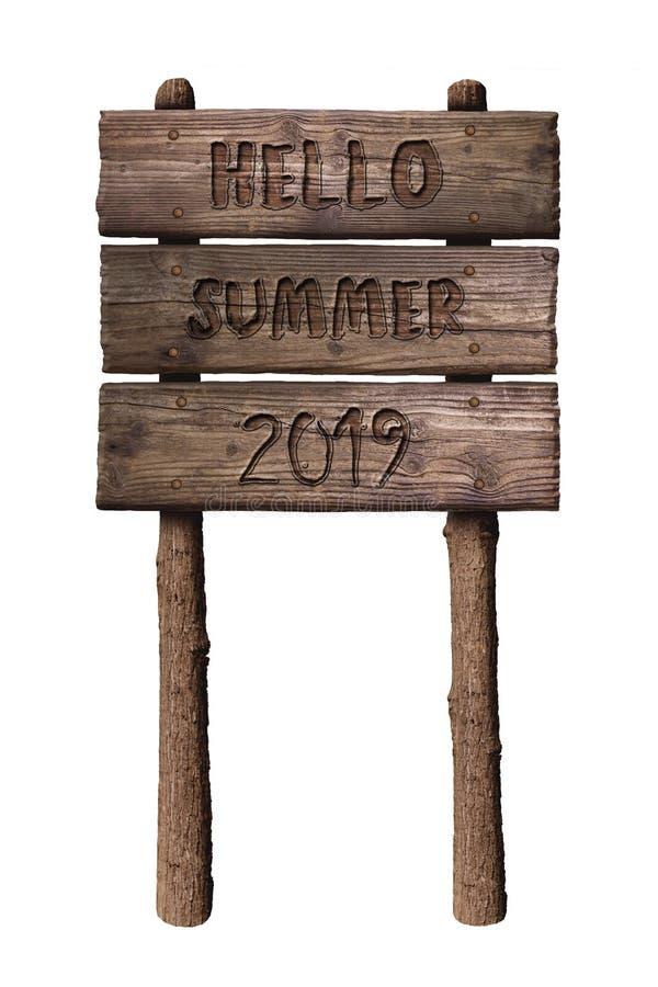 Знак деревянной доски лета с текстом, здравствуйте лето 2019 изолированным на белой предпосылке стоковое фото rf
