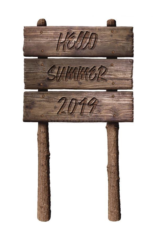 Знак деревянной доски лета с текстом, здравствуйте лето 2019 изолированным на белой предпосылке стоковое изображение