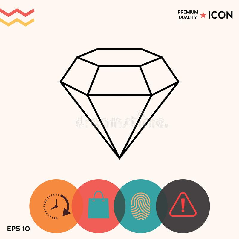 Знак диаманта Символ ювелирных изделий Камень самоцвета Плоский простой дизайн - линия значок стоковые изображения