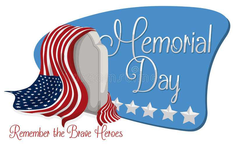 Знак Дня памяти погибших в войнах с надгробной плитой и американским флагом, иллюстрацией вектора иллюстрация штока