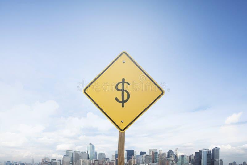 Знак доллара концепции знака уличного движения стоковое изображение rf